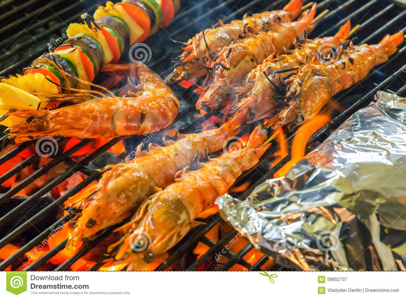 Grilled Seafood On The Grill Stock Image - Image: 56852707