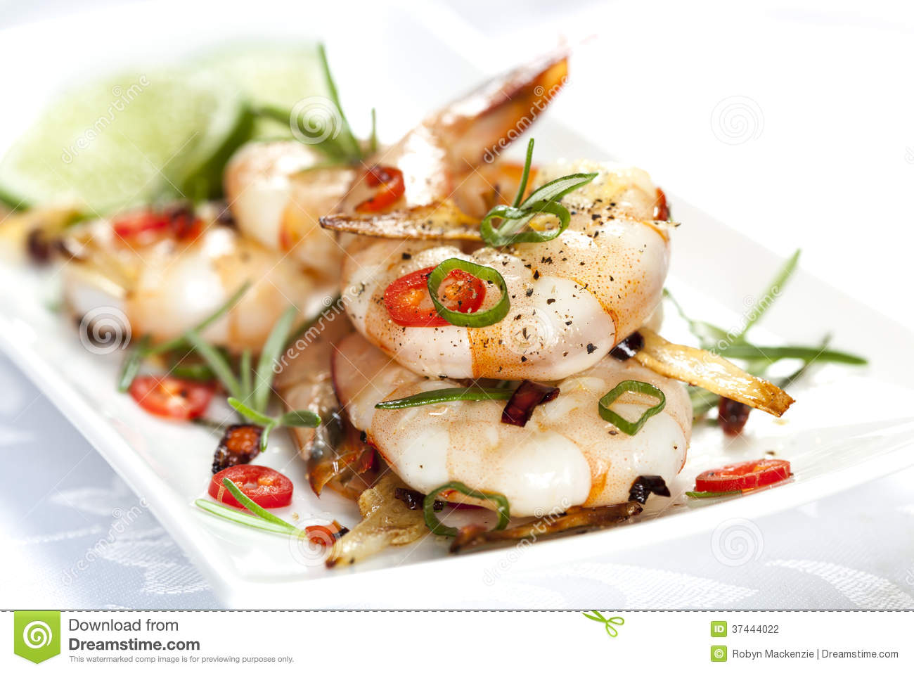 Grilled shrimp with garlic, rosemary and chili.