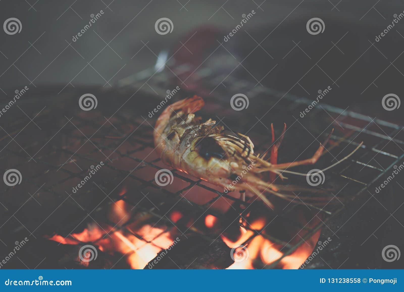 Grilled Shrimp (Giant Freshwater Prawn) At Market Stock Photo