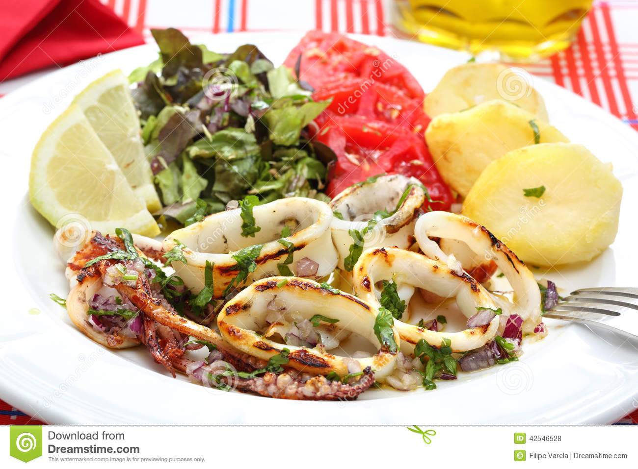 Grilled Squids With Salad And Potatoes - Portuguese Style Stock Photo ...