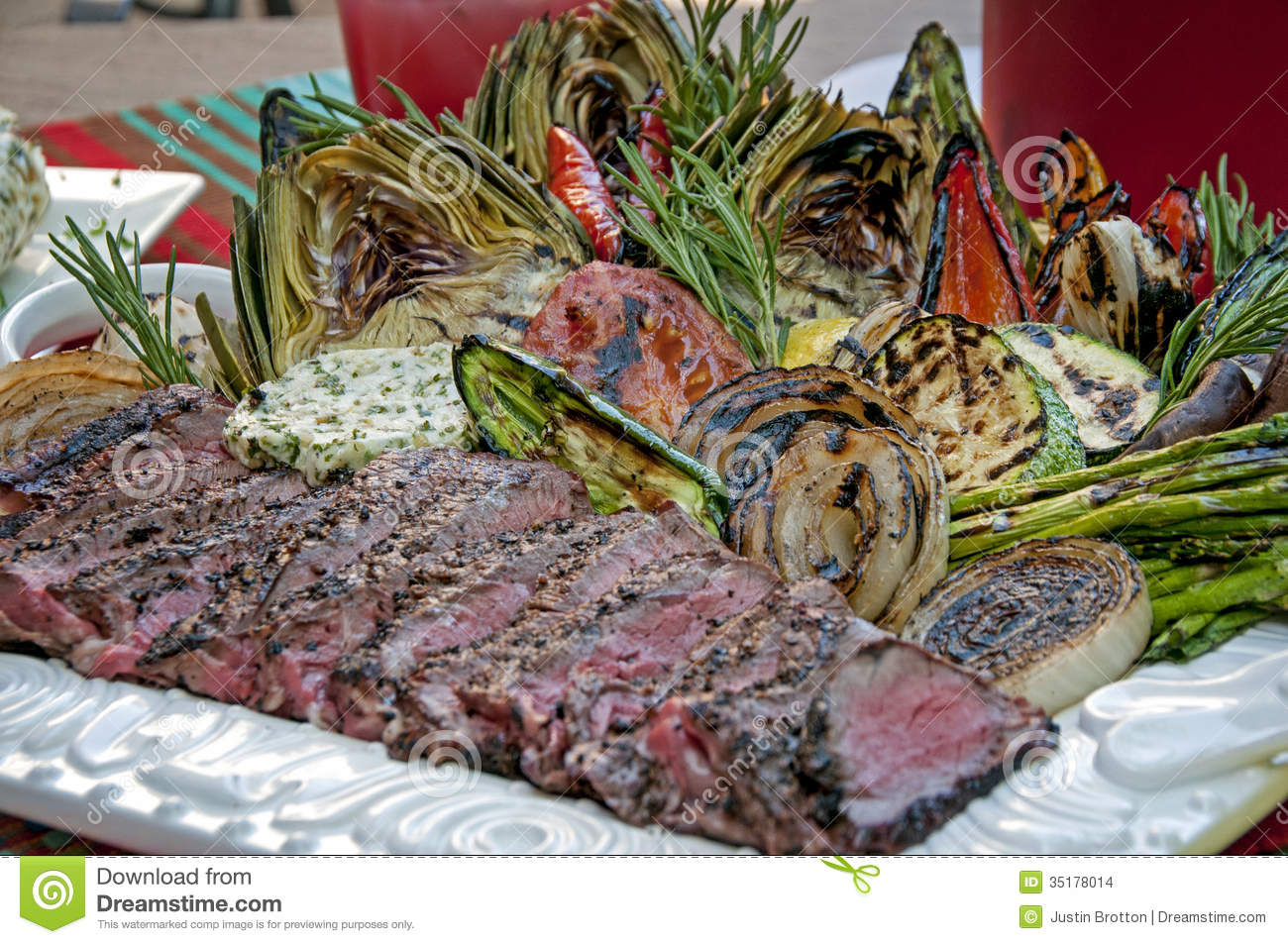 Grilled steak and vegetable spread