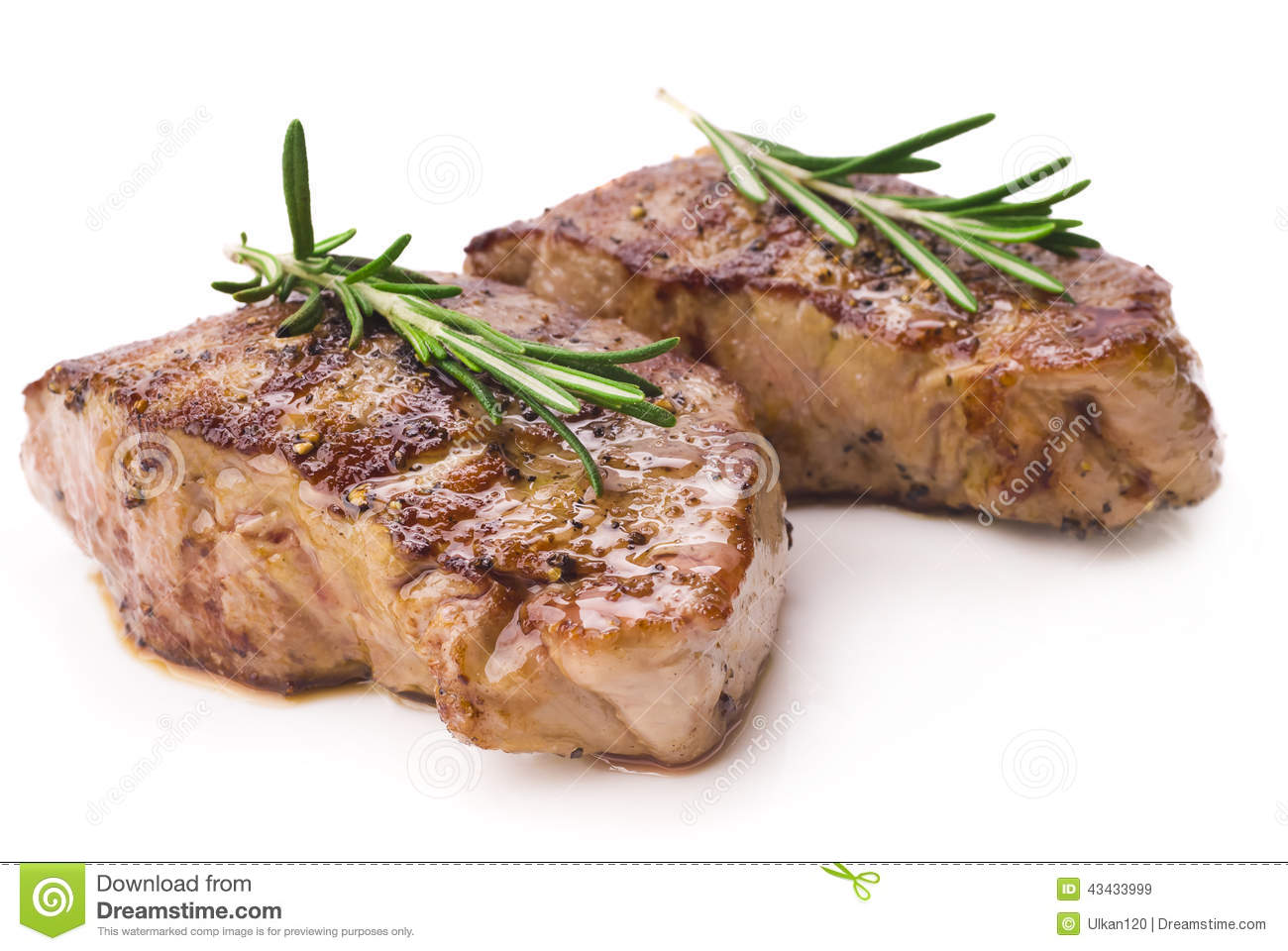 Grilled Steak White Background