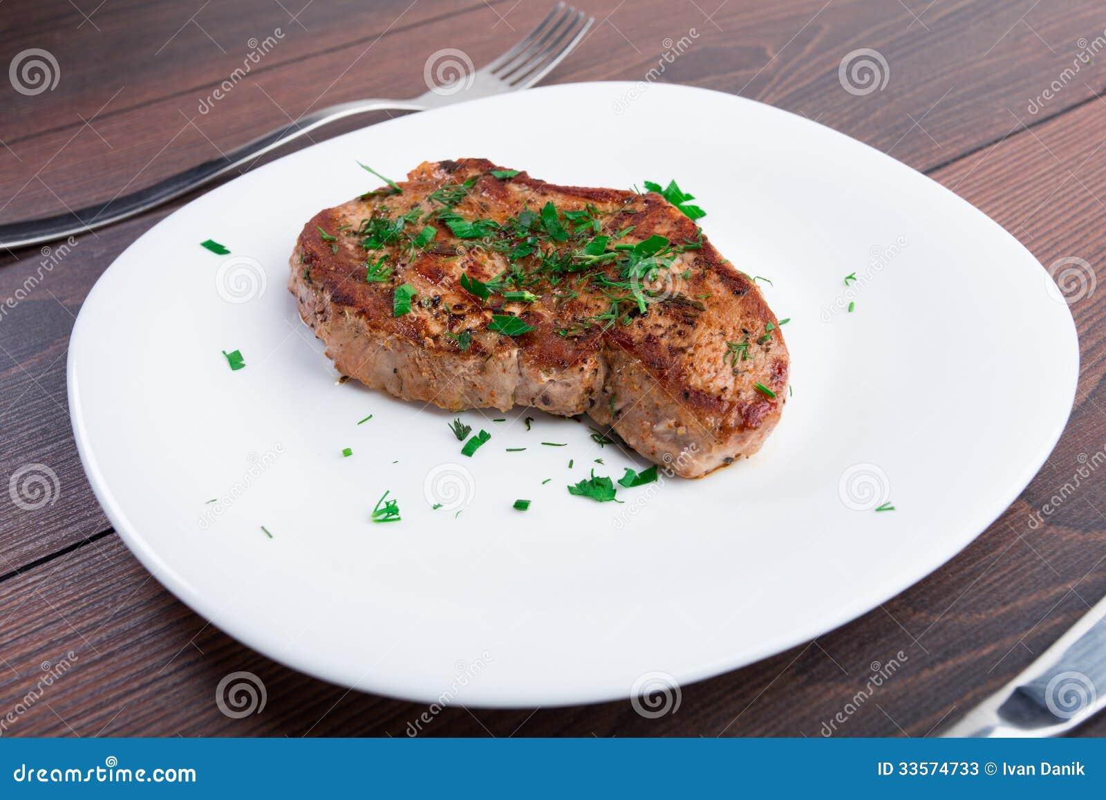 Grilled Steak On White...