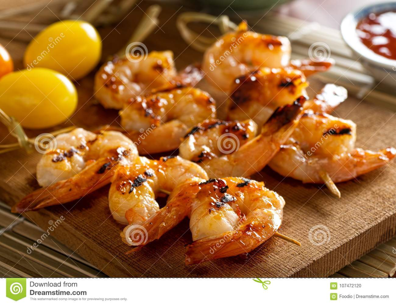 Grilled Sweet and Spicy Shrimp Skewers