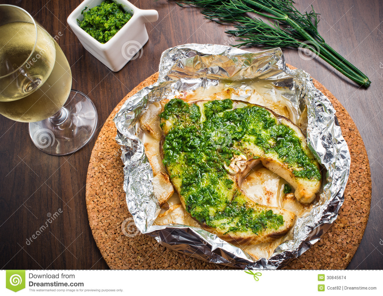 Grilled Swordfish Fillet With Pesto Stock Images - Image: 30845674