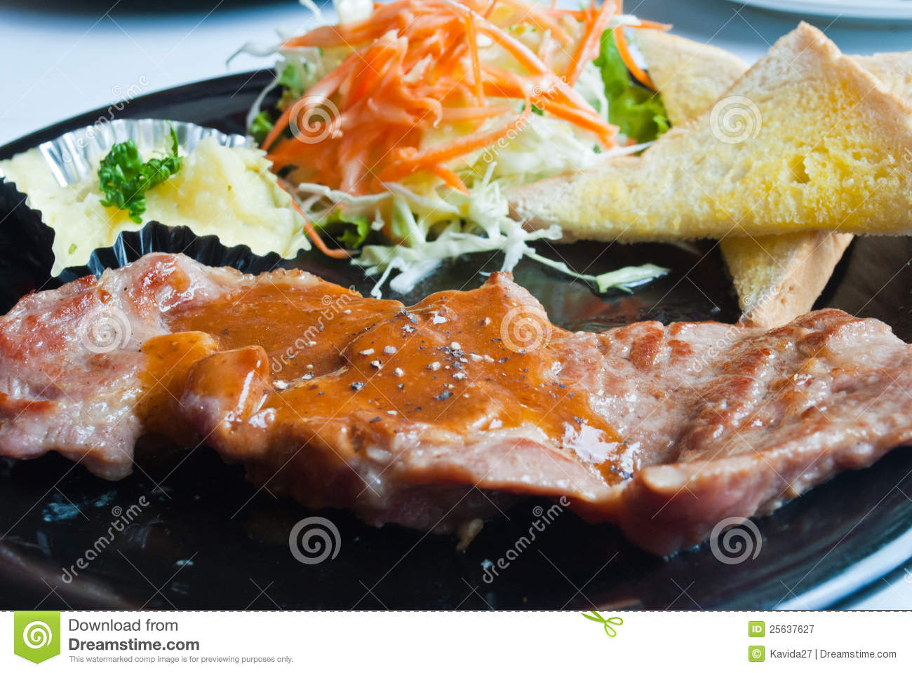 A Grilled Top Sirloin Steak Of Pork . Royalty Free Stock ...