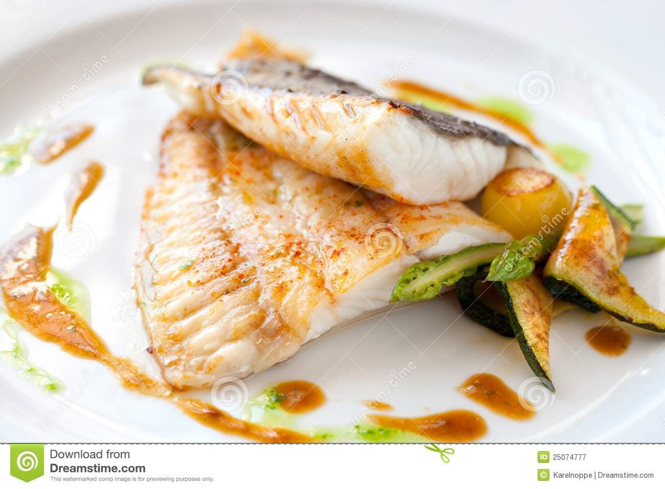 Grilled turbot fish with vegetables royalty free stock for Turbot fish price