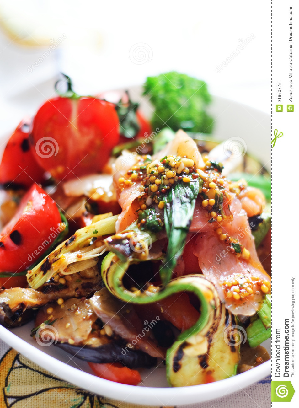 Grilled vegetables and smoked salmon salad