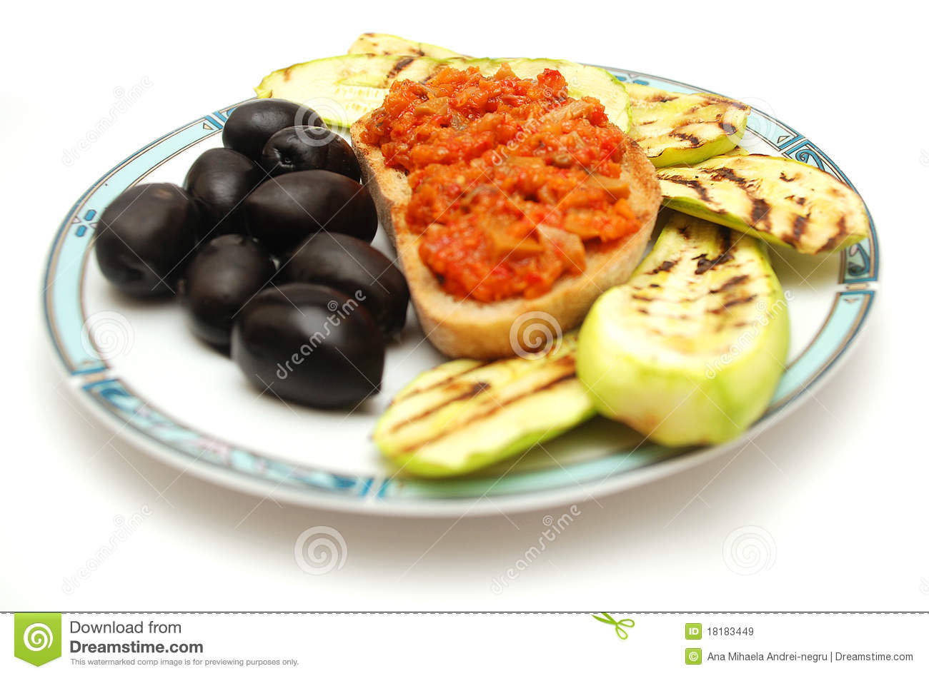Grilled Zucchini, Toast Bread And Olives Royalty Free ...