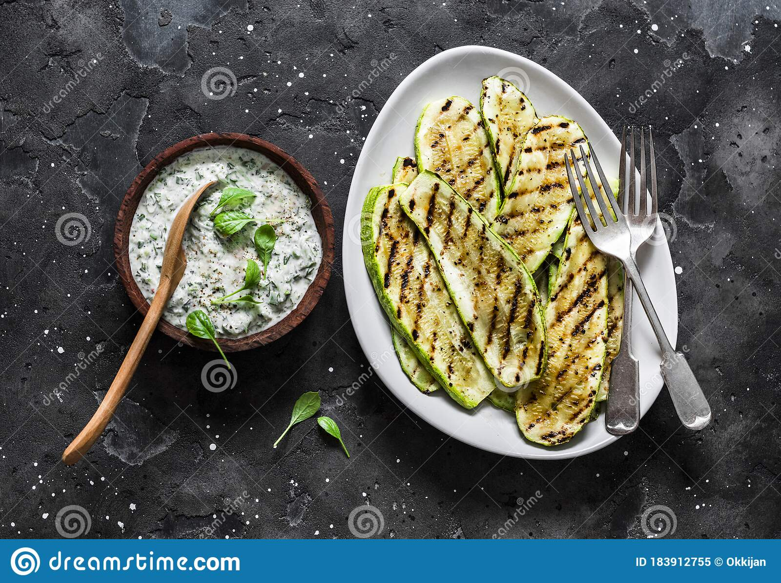 Grilled Zucchini And Tzatziki Sauce Delicious Greek Style Snack Tapas On A Dark Background Top View Stock Image Image Of Coriander Served 183912755