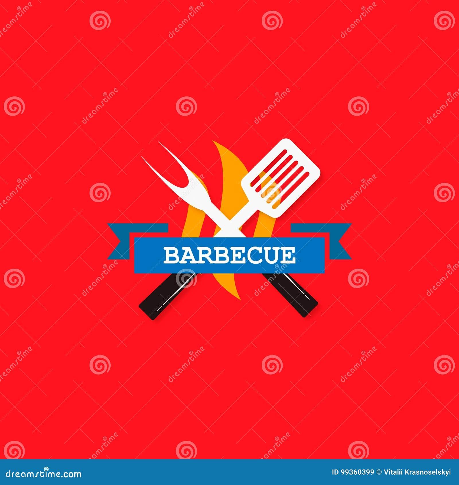 Grillen Sie stilvolles flaches Design des Logos, roten Hintergrund