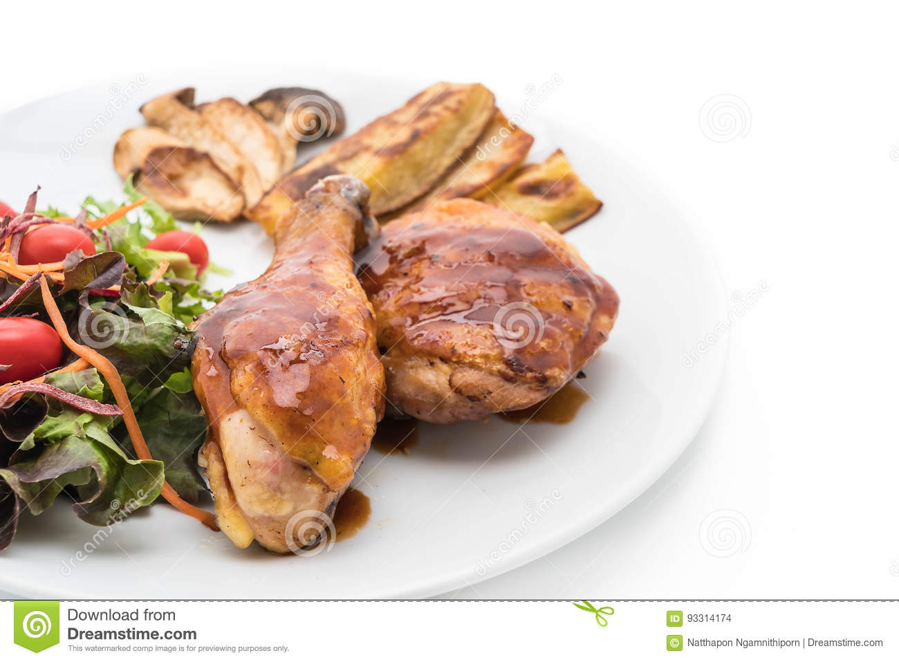 Grilles Chicken Steak With Teriyaki Sauce Stock Photo ...