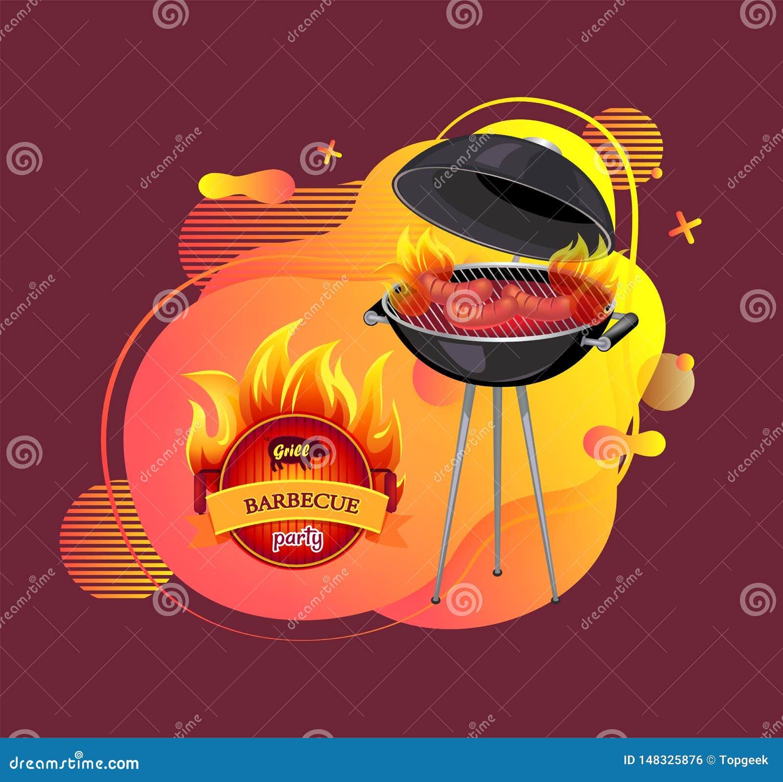 GrillfestpartiCookout och grilla banervektorn