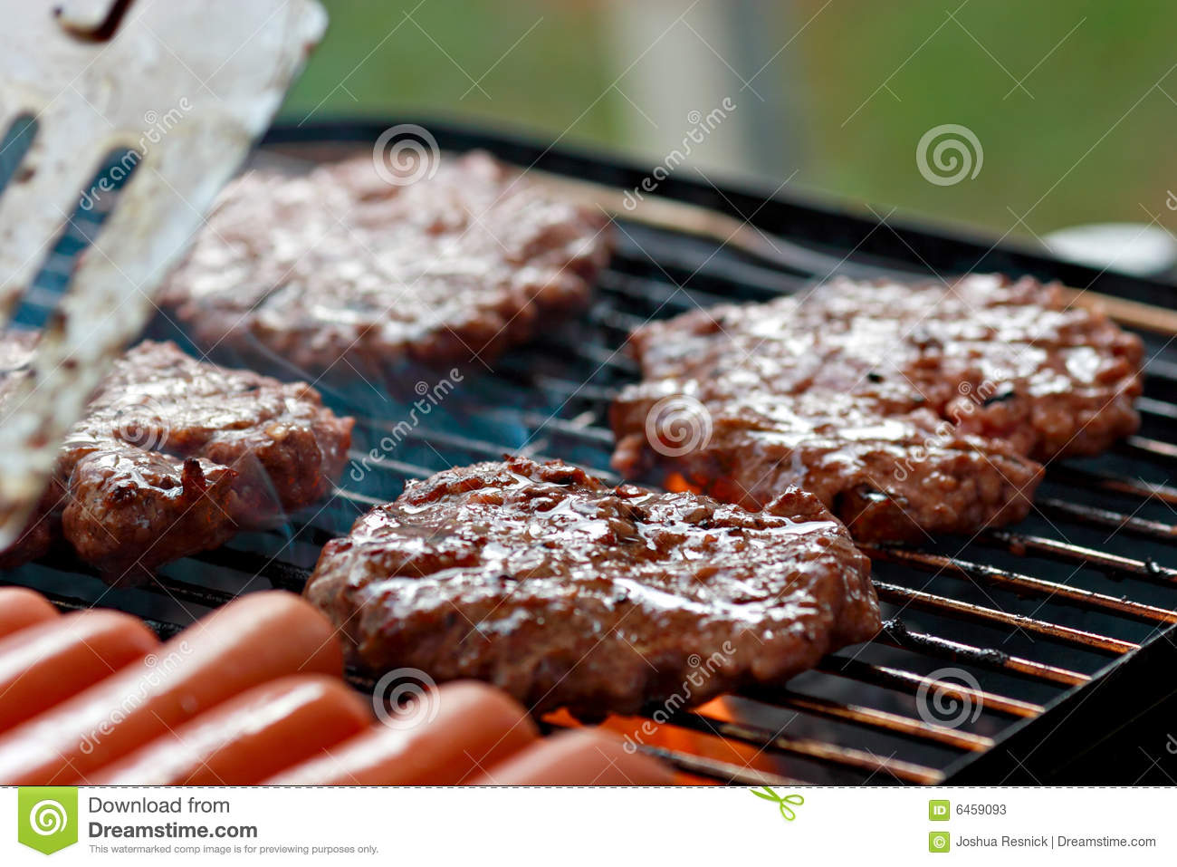 Grilling burgers and hot dogs