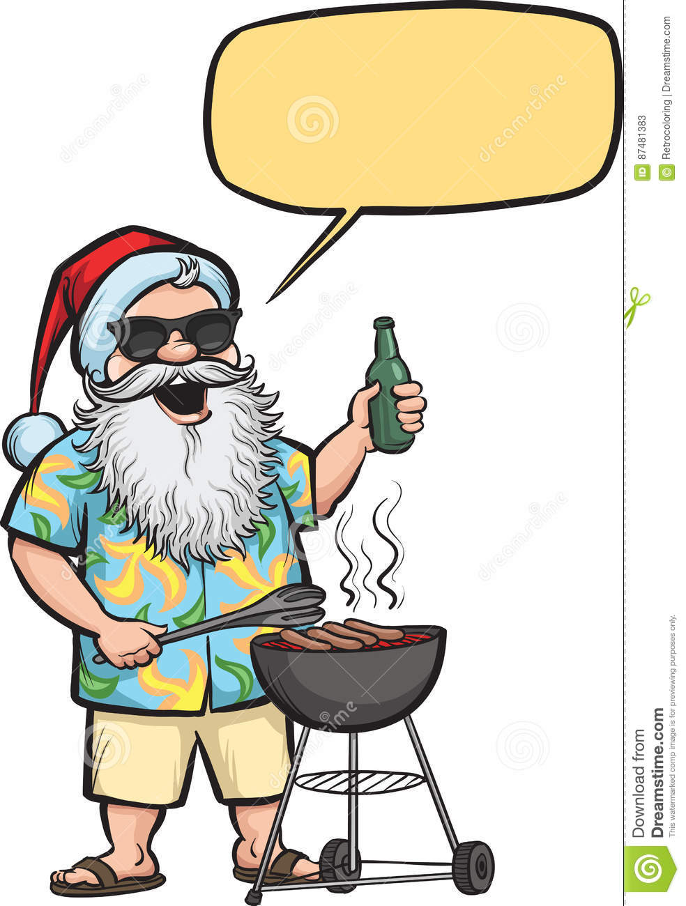Grilling Santa with barbeque and beer