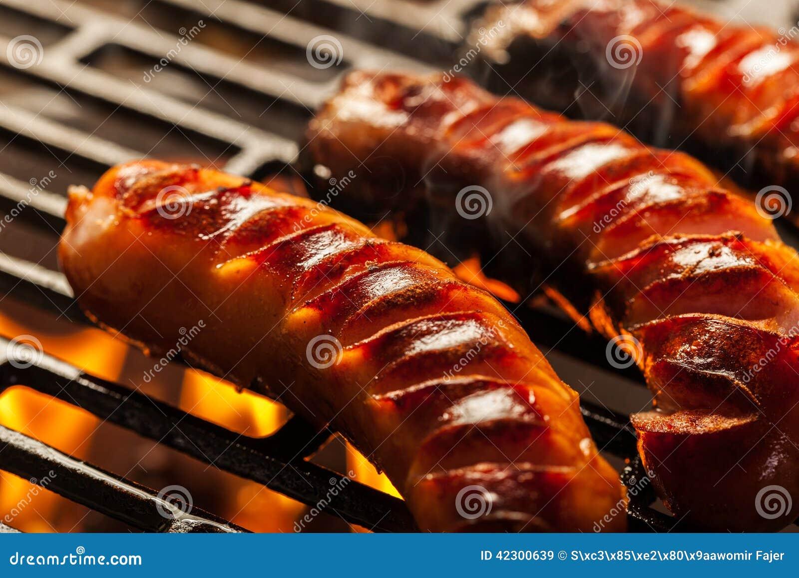 grilling sausages on barbecue grill stock image image. Black Bedroom Furniture Sets. Home Design Ideas