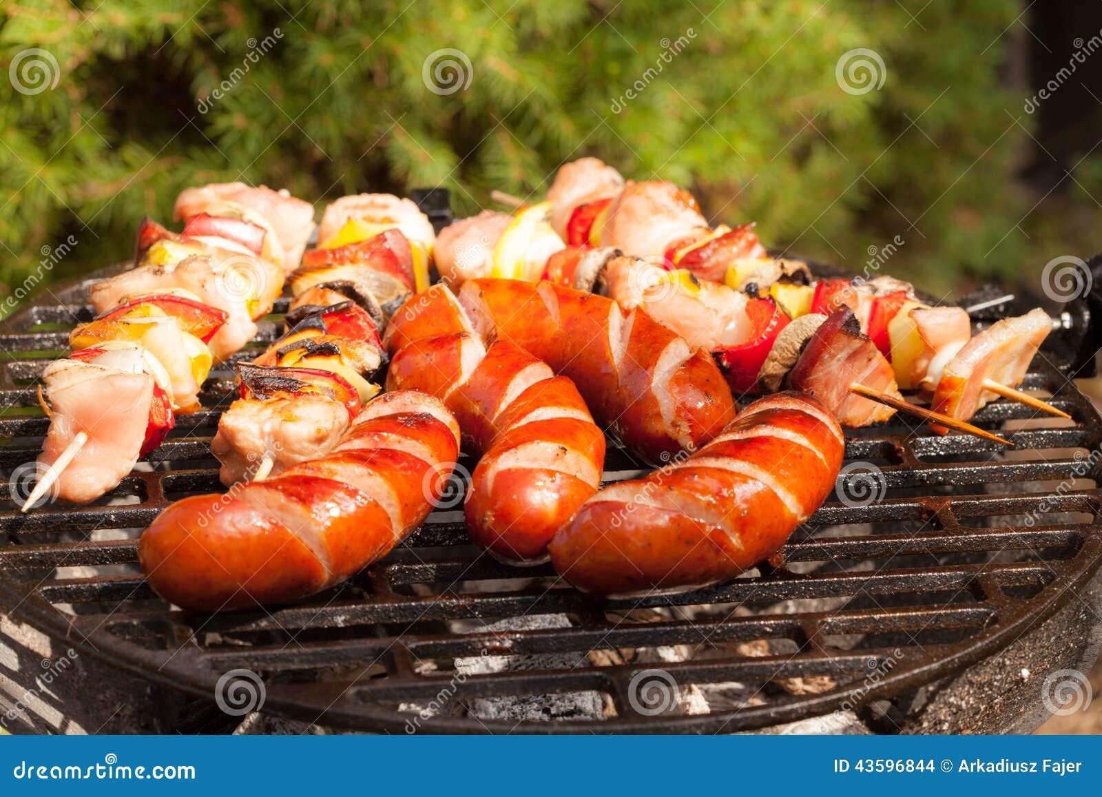grilling sausages stock photo image 43596844. Black Bedroom Furniture Sets. Home Design Ideas
