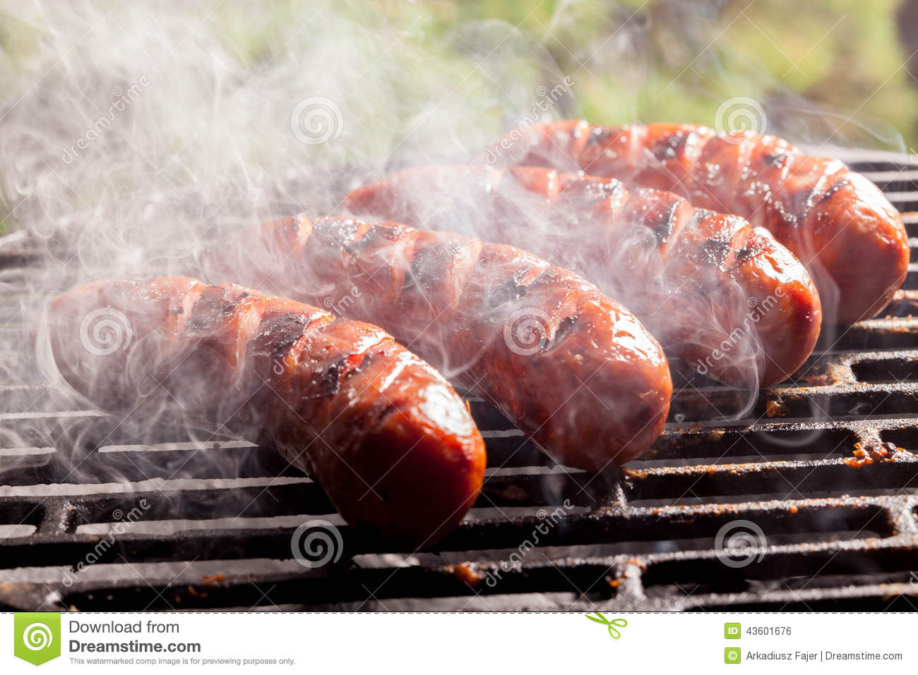 Grilling sausages. stock photo. Image of sausage ...