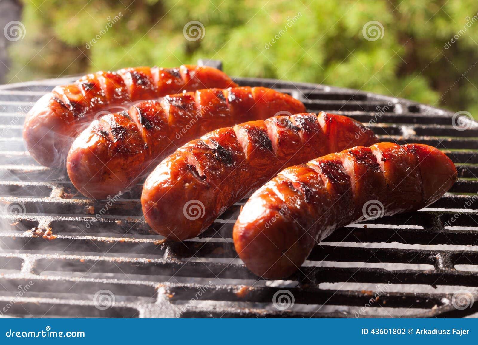 grilling sausages stock photo image 43601802. Black Bedroom Furniture Sets. Home Design Ideas