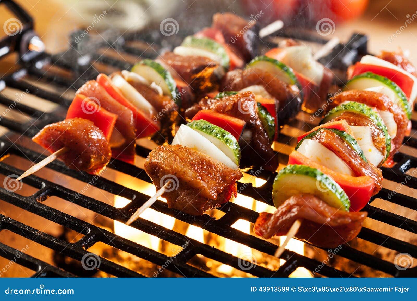 grilling shashlik on barbecue grill stock photo image. Black Bedroom Furniture Sets. Home Design Ideas