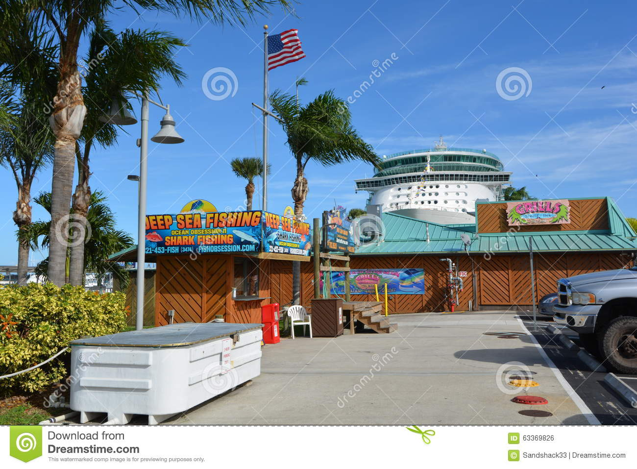 Grills seafood deck tiki bar at port canaveral editorial photo image 63369826 - Grills seafood deck tiki bar ...