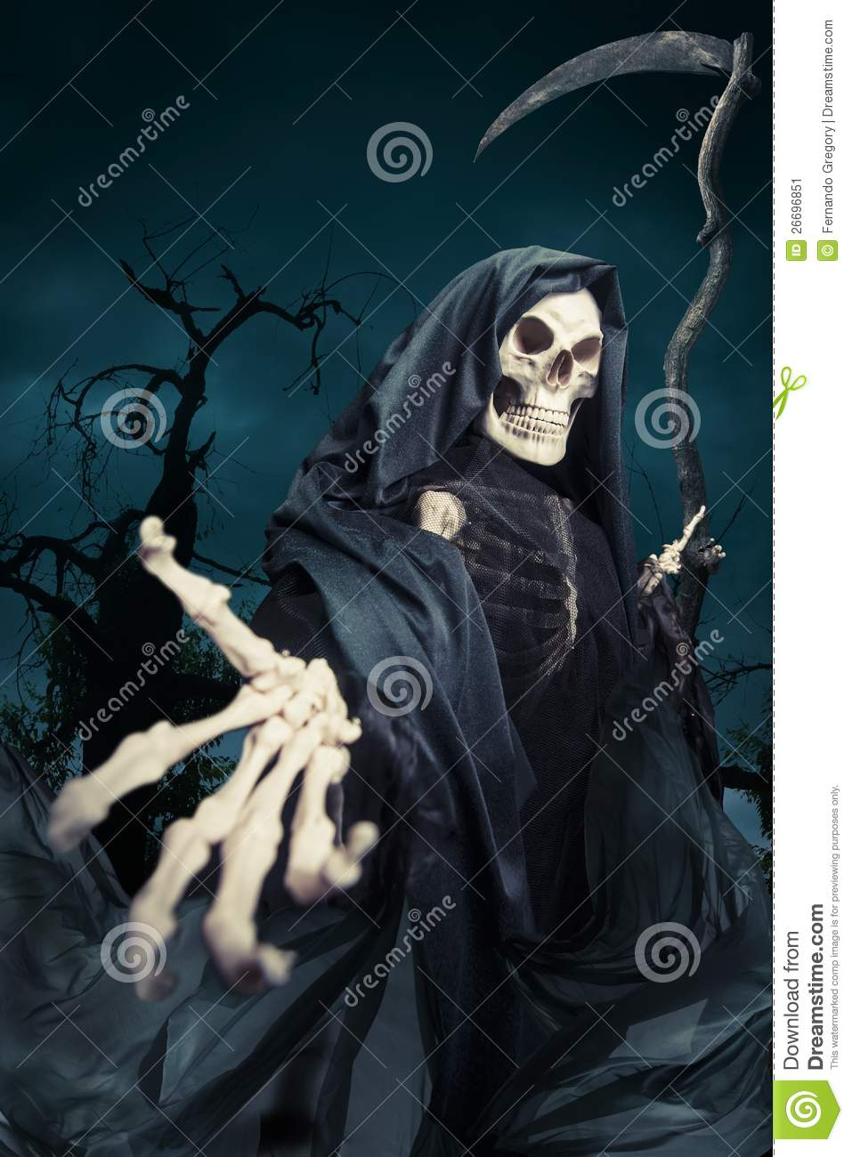 Grim Reaper/ Angel Of Death At Night Stock Image - Image: 26696851