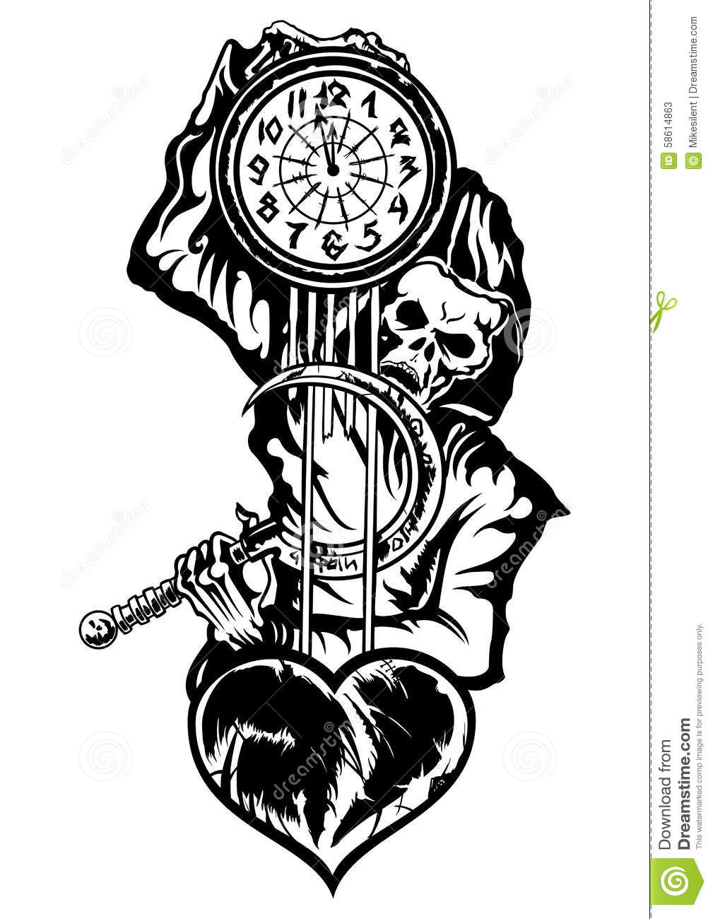 Grim Reaper Or The Death With A Clock Stock Illustration