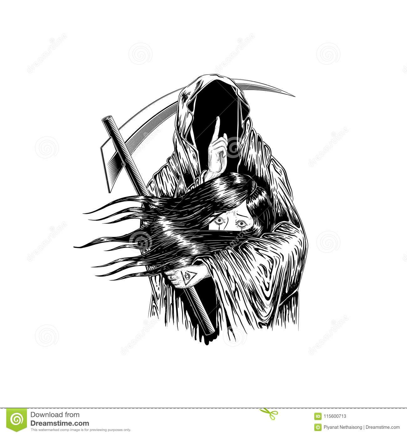 Grim Reaper Human Skull Wearing A Hood Isolated On Color