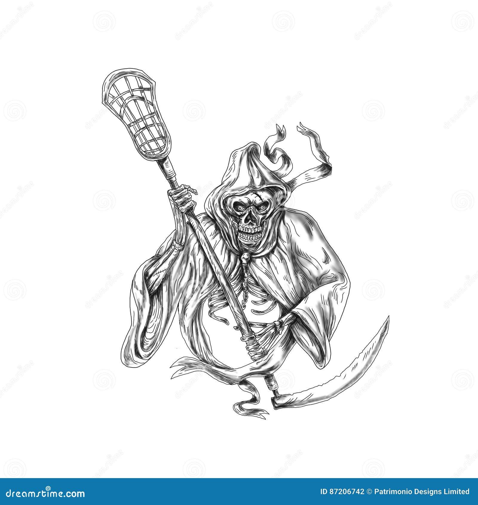 Grim Reaper Lacrosse Defense Pole Tattoo Stock Illustration