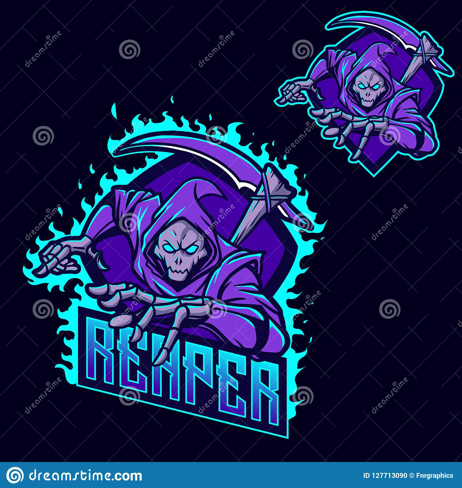 grim reaper ninja esport gaming mascot logo template stock
