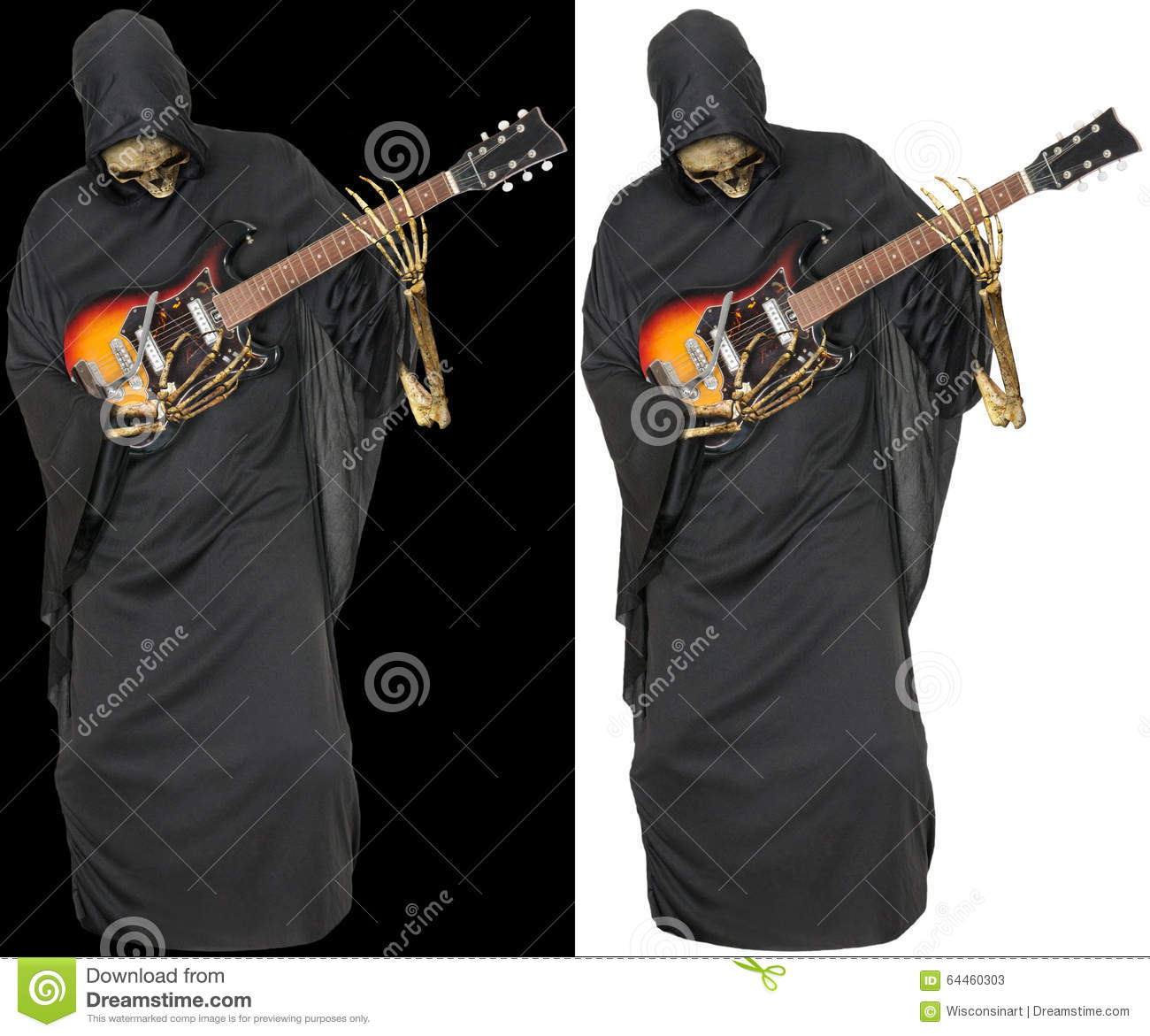 Grim Reaper Play Guitar Isolated Stock Image - Image of roll, evil