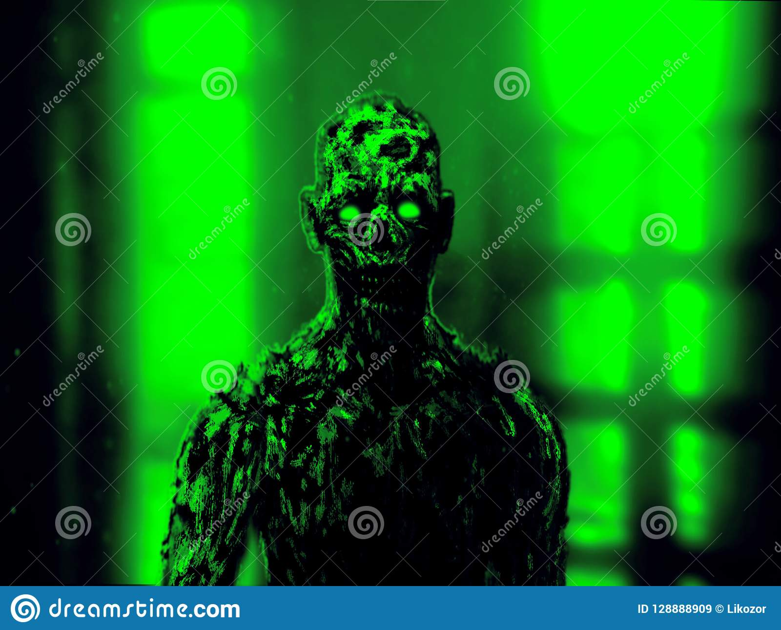Grim zombie apocalyptic face. Green color.