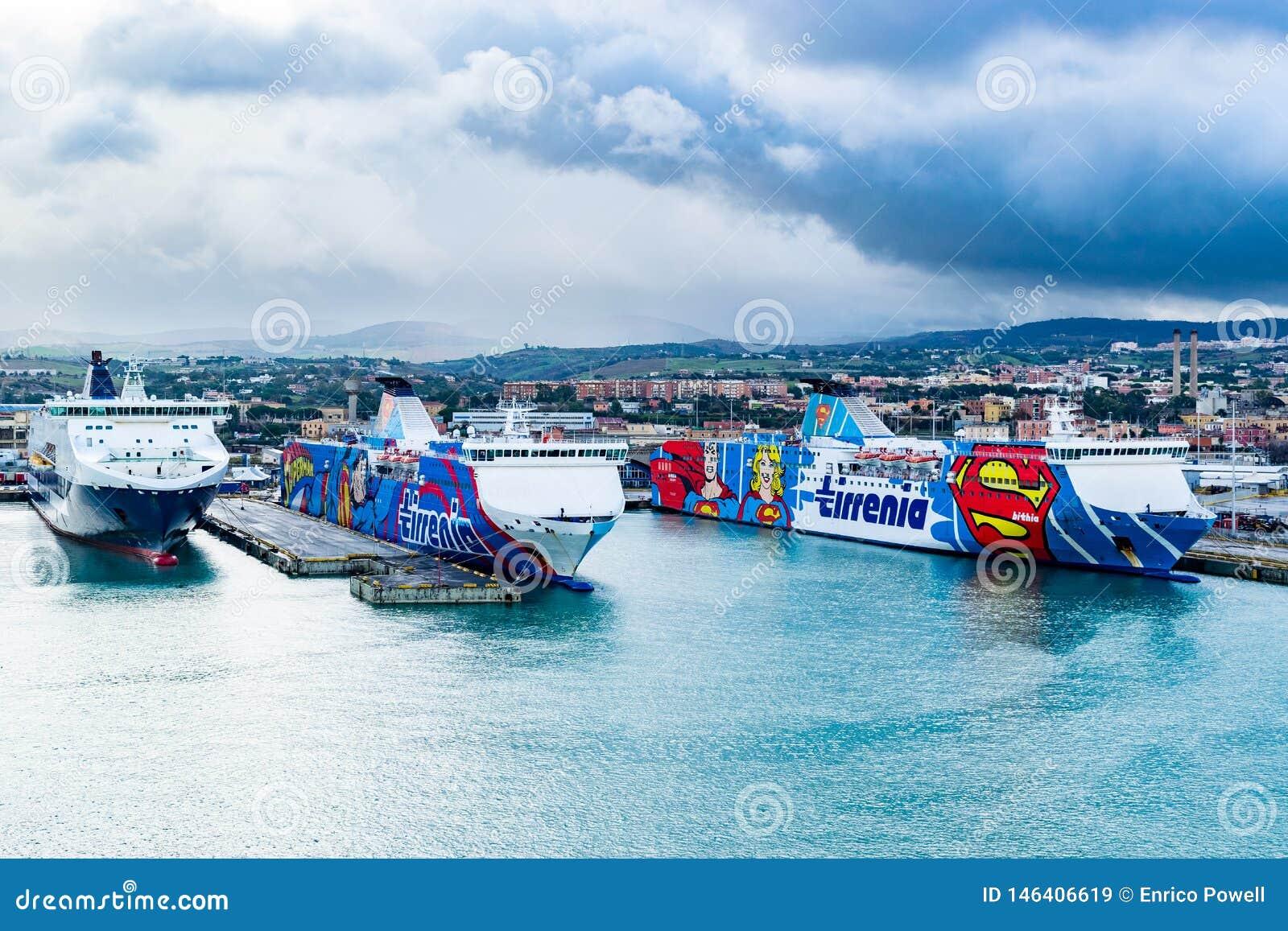 Grimaldi Lines, Tirrenia Athara and Tirrenia Bithia ferries at the Port of Civitavecchia, Rome.