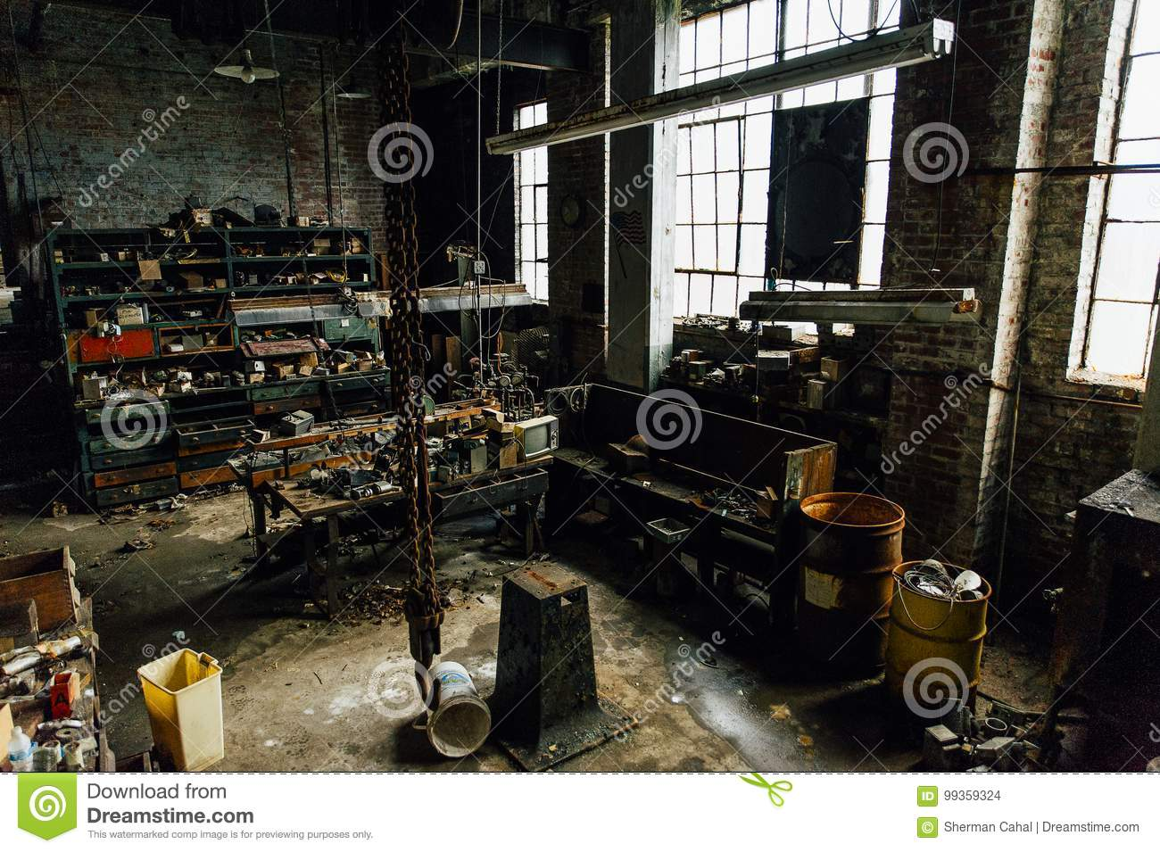 Grimy Vintage Machine Shop Abandoned Glass Factory Stock Photo