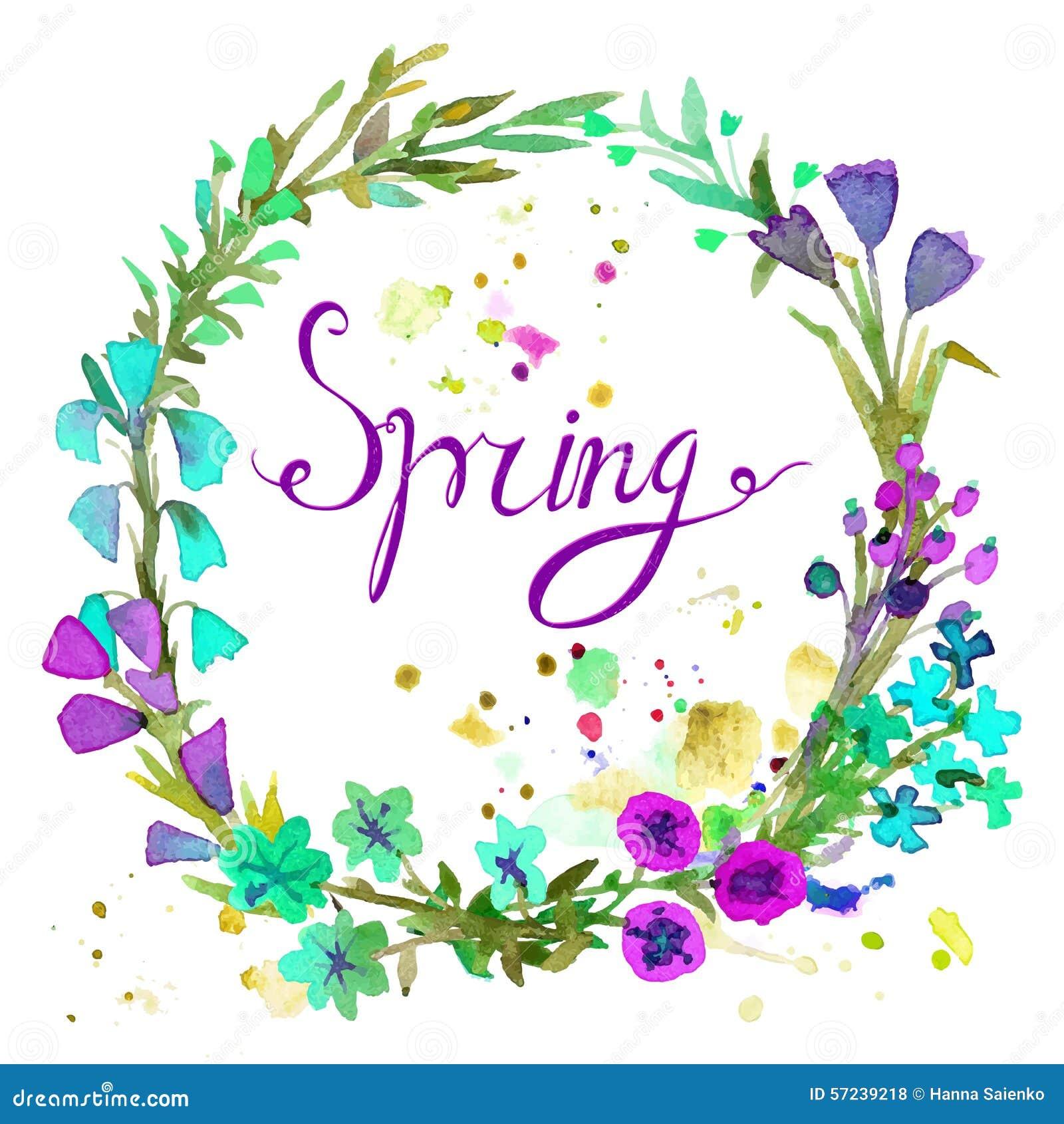 Grinalda da aquarela Projeto floral do quadro com mola do texto