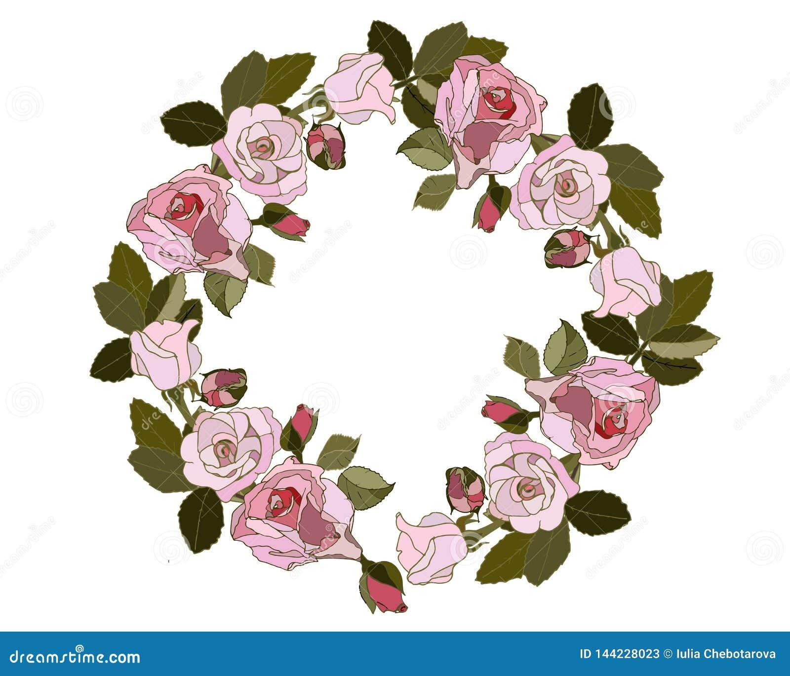 Grinalda de rosas cor-de-rosa no fundo branco