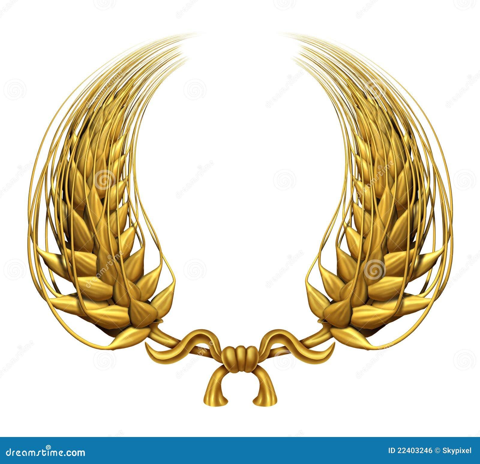 Grinalda do louro do ouro do trigo dourado