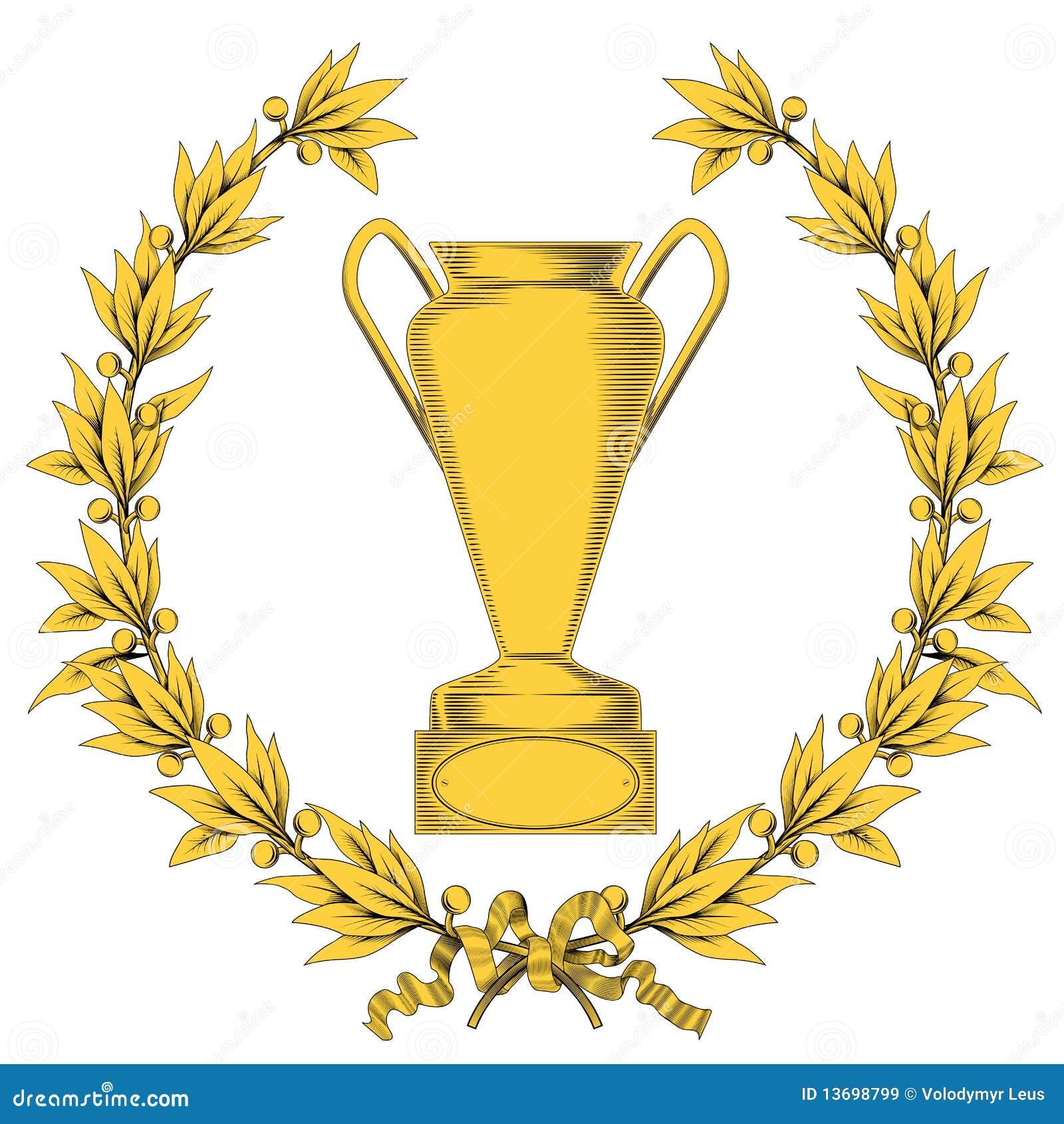 Grinalda do louro e copo dourados do vencedor