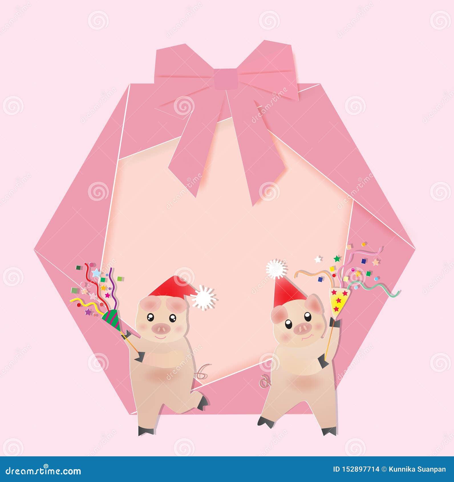 Grinalda do Natal com dois porcos e panelas de fazer pipoca