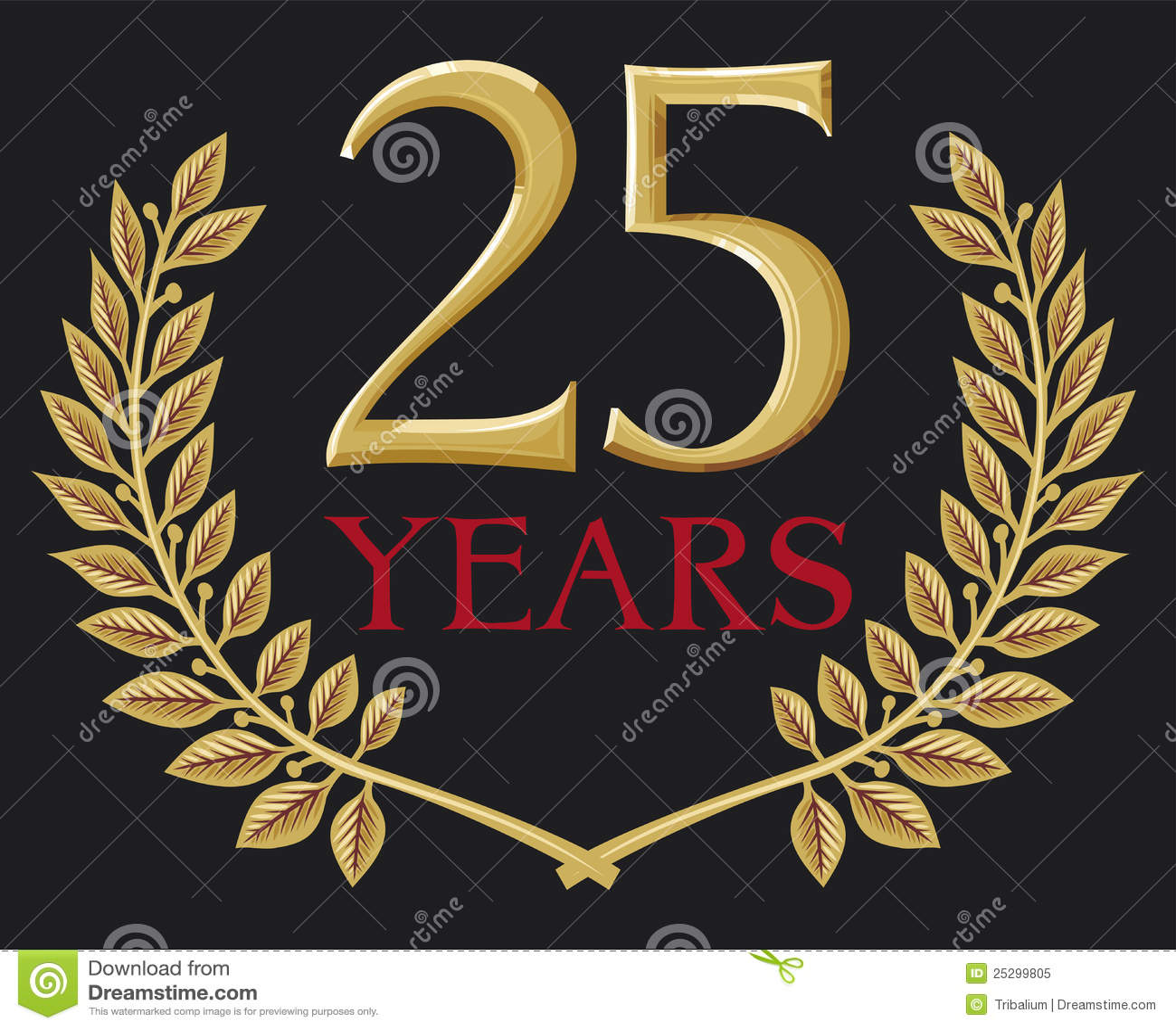 Grinalda Dourada Do Louro 25 Anos Foto De Stock Royalty