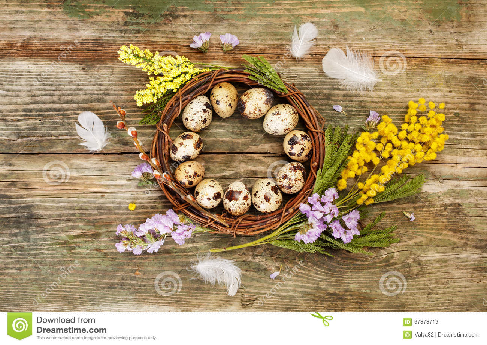 Grinalda e flores da Páscoa