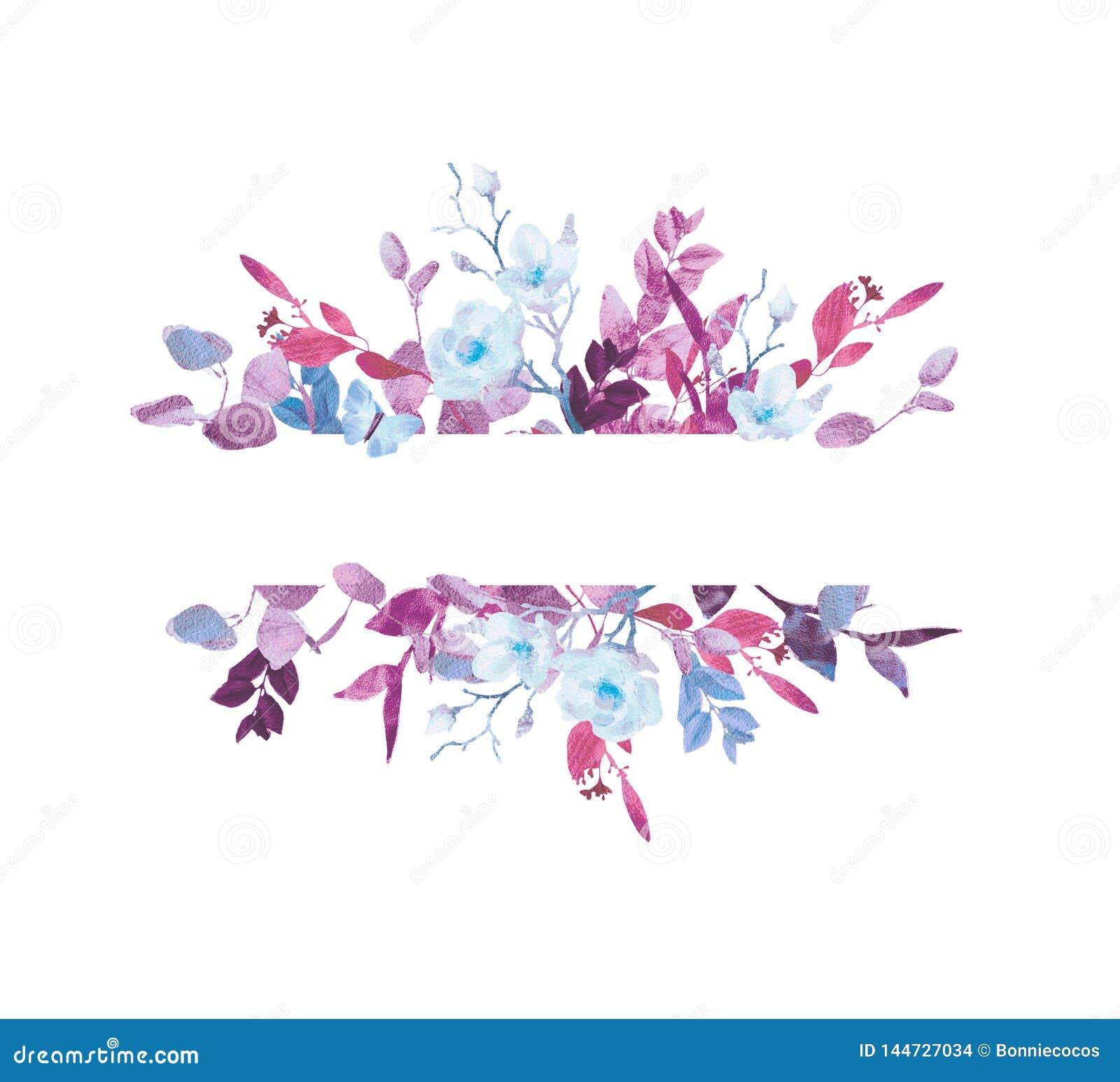 Grinalda floral da aquarela pintado ? m?o no fundo branco Grinalda, quadro floral, flores da aquarela, peônias e rosas,