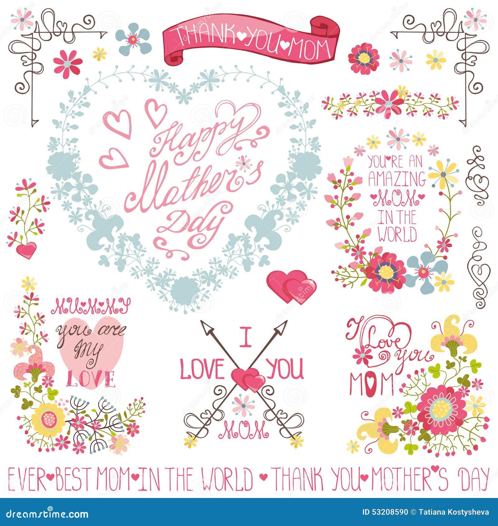 Grinalda floral do coração do vintage, título, grupo da decoração
