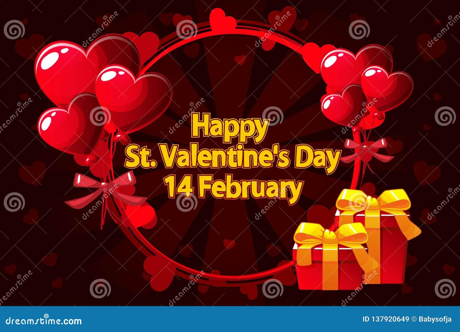 Grinalda romântica para Saint Valentine Day, convites do casamento, o nascimento de uma menina, cartões, cartaz Vetor