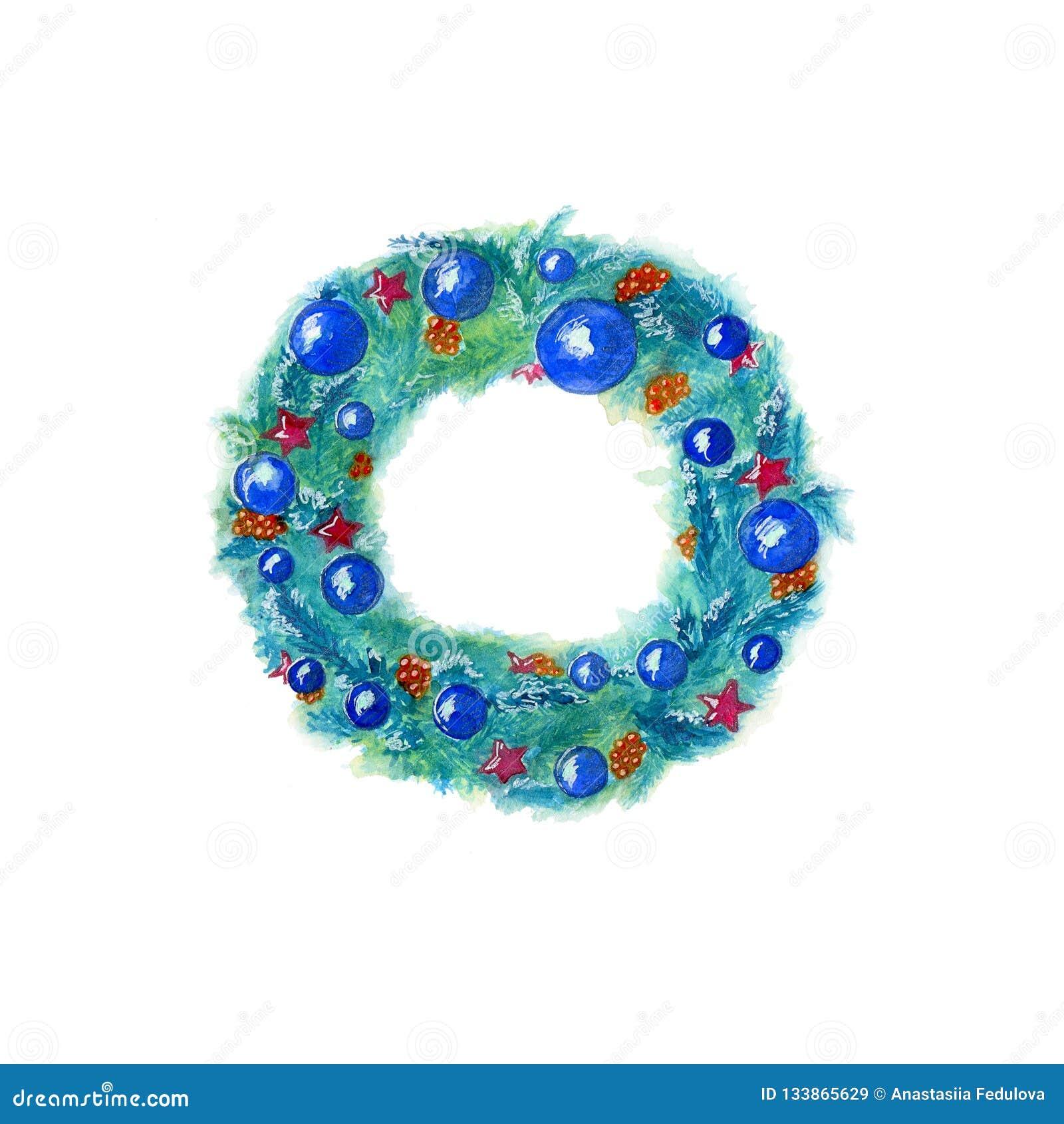 Grinalda tirada mão do Natal da aquarela na cor azul com a decoração isolada no fundo branco