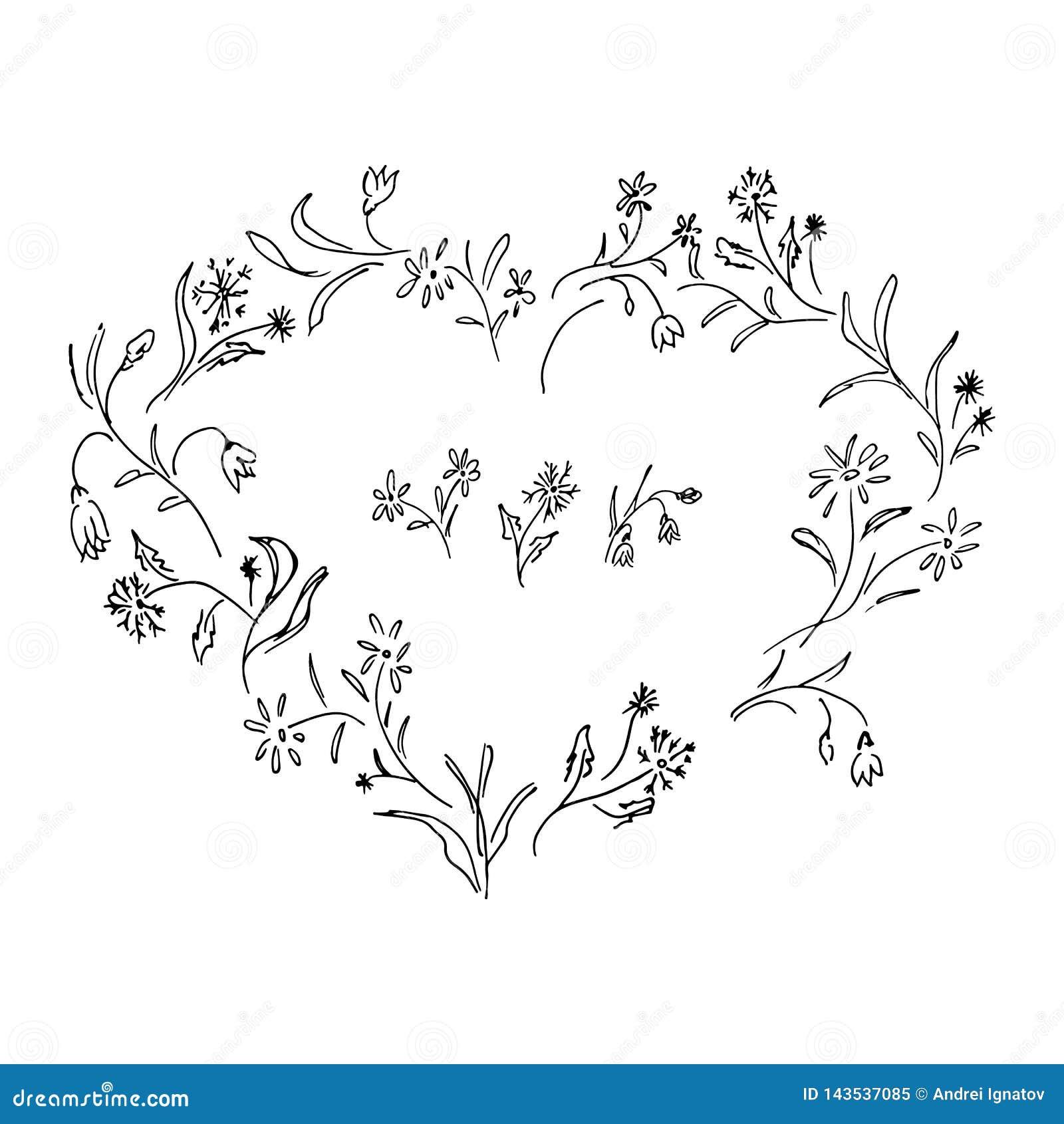 Grinalda tirada mão do vetor no formulário do coração Elementos florais do projeto do quadro do círculo para convites, cartões, c
