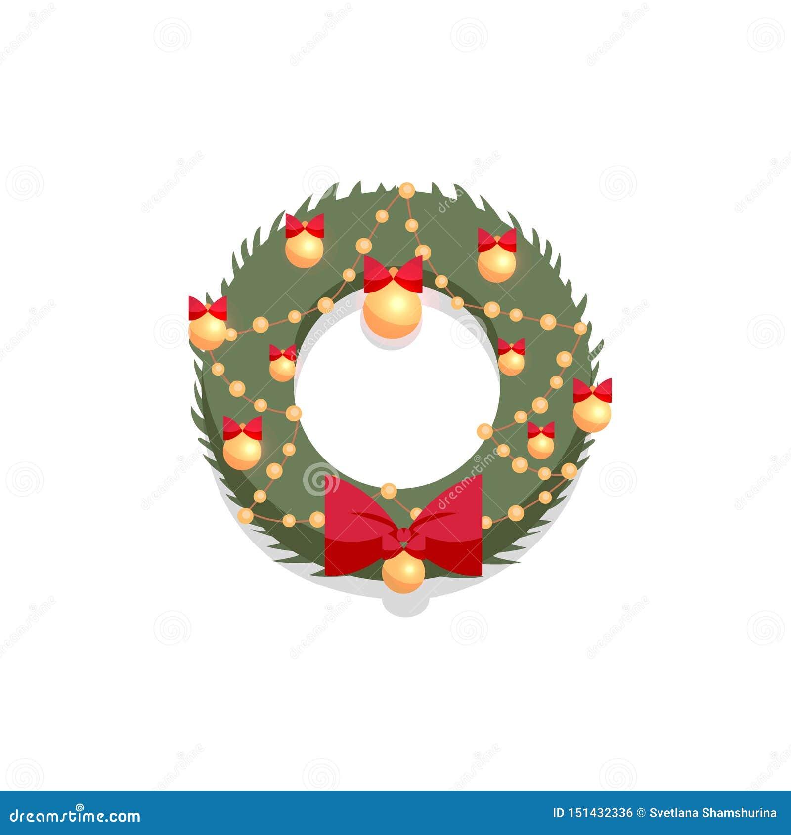 Grinalda verde do Natal decorada pela curva vermelha e por bolas douradas em um fundo branco Ilustra??o lisa do vetor do estilo d