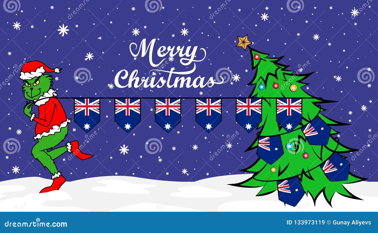 Christmas In Australia Background.Grinch Steals National Flag Of Australia Illustration Green