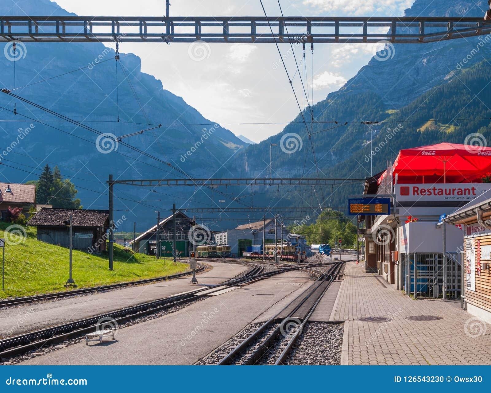 Grindelwald Grund railway station is located in the Bernese Oberland region of Switzerland. Switzerland July 2018
