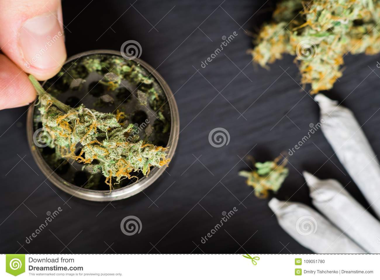 Grinder for chopping weed cannabis and a flower of marijuana on a black background surrounded by joint